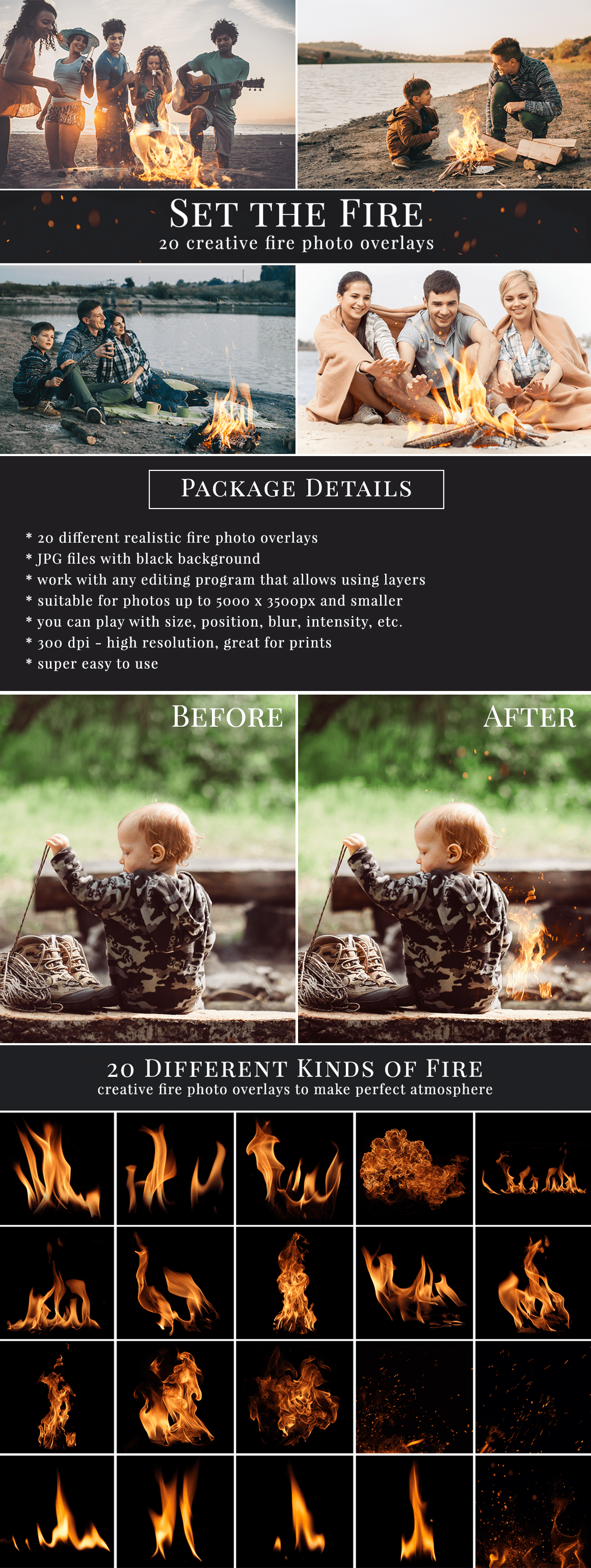 Creative fire photo overlays for Photoshop, Zoner, Gimp etc. Super easy to use, very realistic result just in one minute. Great for outdoor photography. Photo overlays for creative photographer from Brown Leopard.