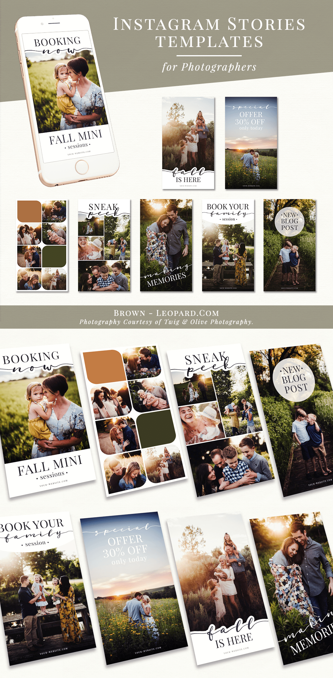 Instagram Stories Bundle for Photographers - fall theme. Great marketing tool to promote your photography business on social media, boost your service, offers & special sales.Customizable layered psd files for Adobe Photoshop and Photoshop Elements - super easy to use. Digital design templates for creative photographers from Brown Leopard.