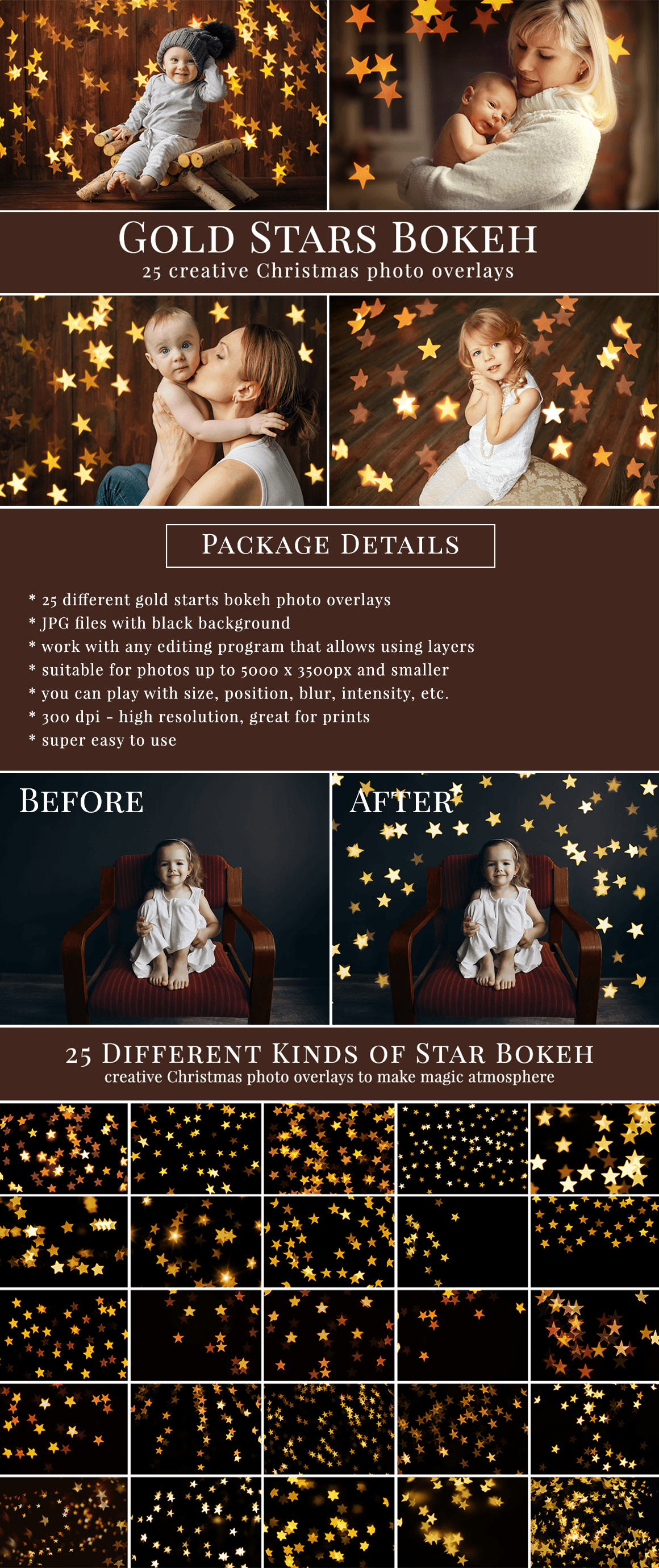 Creative Christmas bokeh photo overlays - all you need to style amazing holiday scenes. Great for Christmas mini sessions. Professional photo overlays for Photoshop, Zoner, Gimp etc. Super easy & fast to use, very pretty result just in one minute. Photo overlays for creative photographers from Brown Leopard.