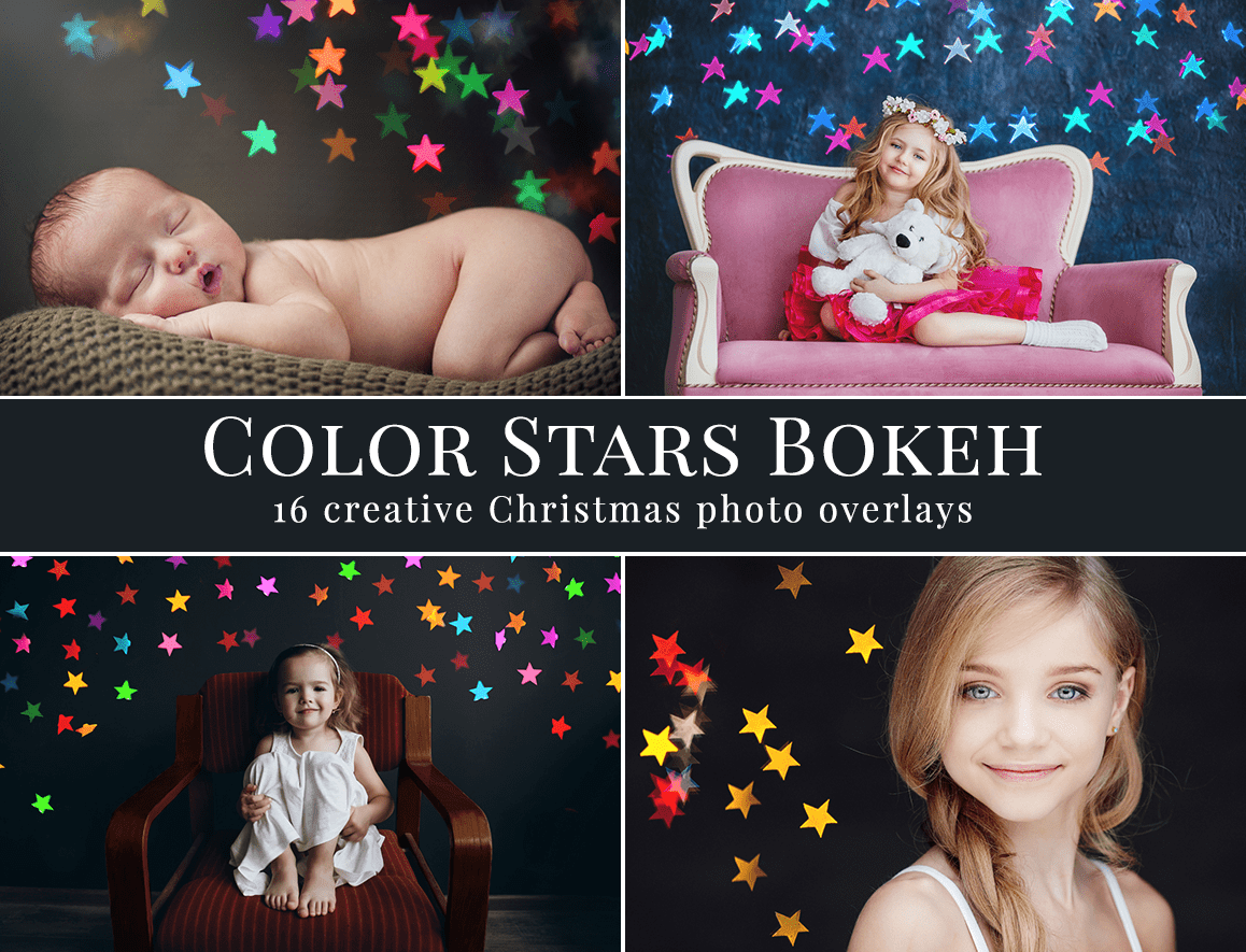 color stars bokeh photo overlays