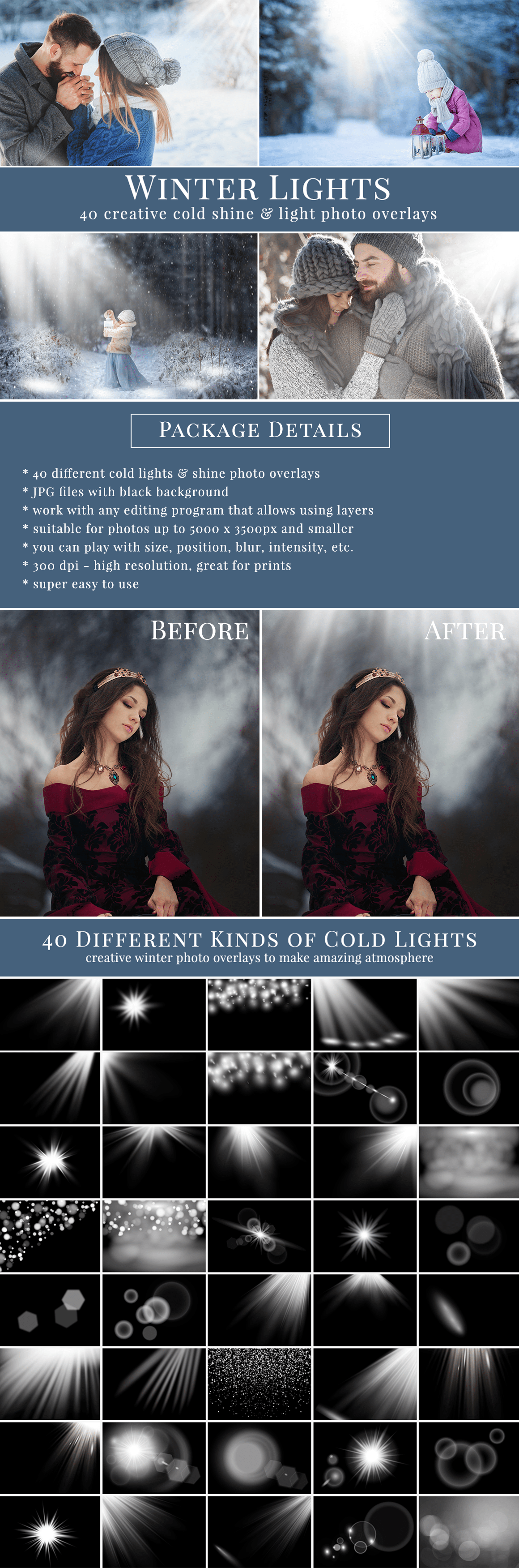 Creative Winter Lights & shine photo overlays - all you need to style amazing freezy scenes, great for winter mini sessions. Drag & drop - super easy to use, very pretty result just in one minute. Professional photo overlays for Photoshop, Zoner, Gimp etc. Photo overlays for creative photographers from Brown Leopard.