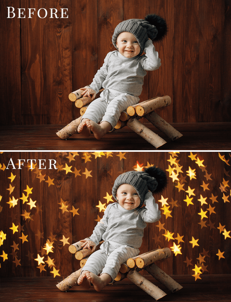 gold stars bokeh photo overlays