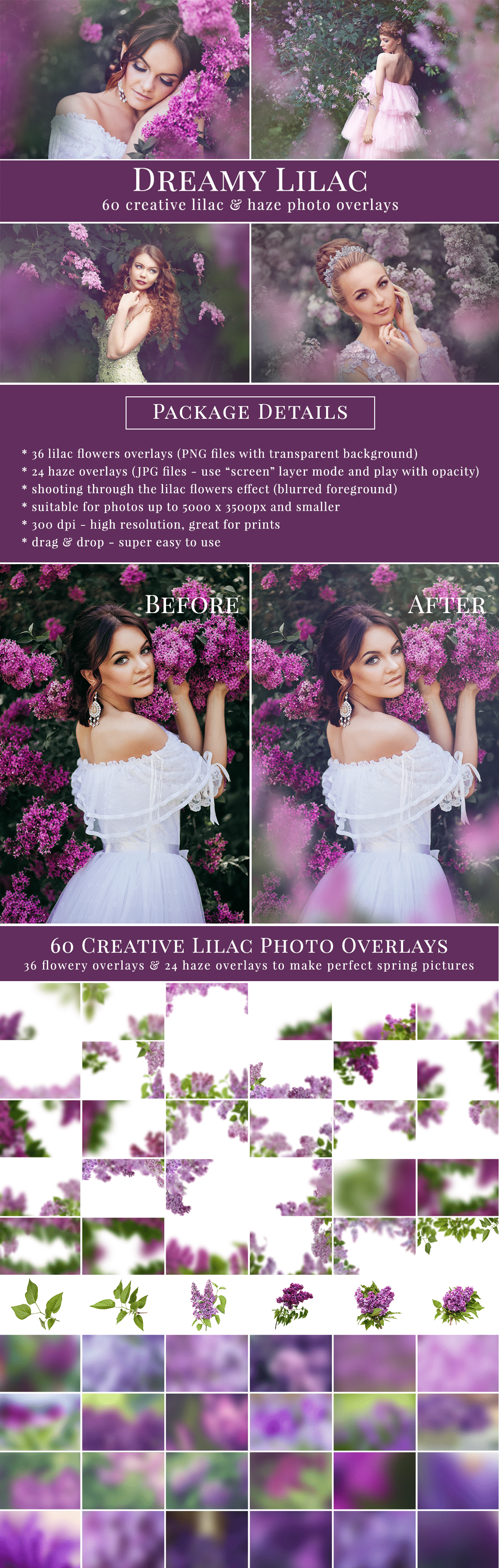 Creative Lilac photo overlays & Haze photo overlays - all you need to style amazing flowery scenes, great for spring mini sessions. Drag & drop - super easy to use, very pretty result just in one minute. Professional photo overlays for Photoshop, Zoner, Gimp etc. Photo overlays for creative photographers from Brown Leopard.