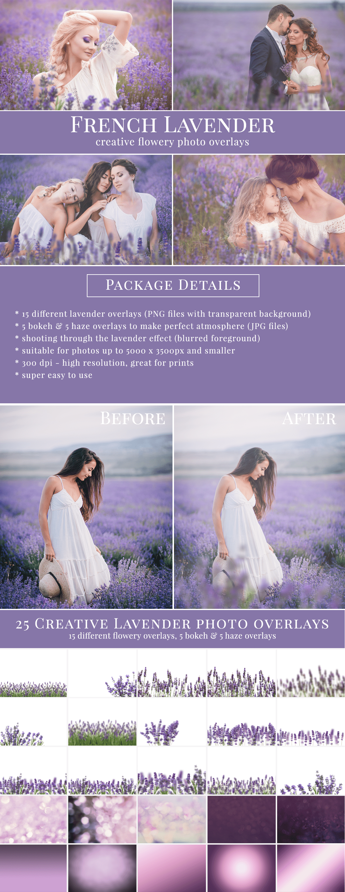 French Lavender photo overlays