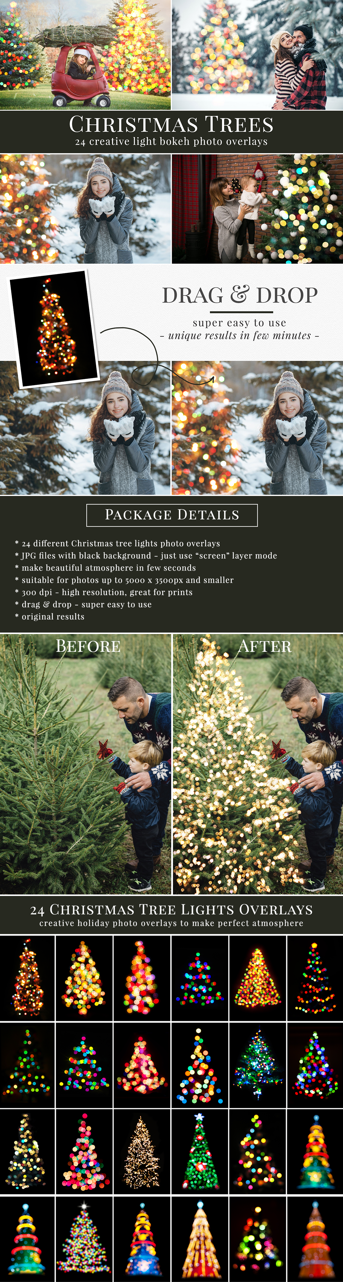 Creative Christmas photo overlays, holiday bokeh photo overlays - all you need to style amazing festive atmosphere. Great for Christmas minis, kids portraits or family photography. Drag & drop - super easy to use, original result just in one minute. Professional photo overlays for Photoshop, Zoner, Gimp, PicMoneky, etc. Holiday photo overlays for creative photographers from Brown Leopard.