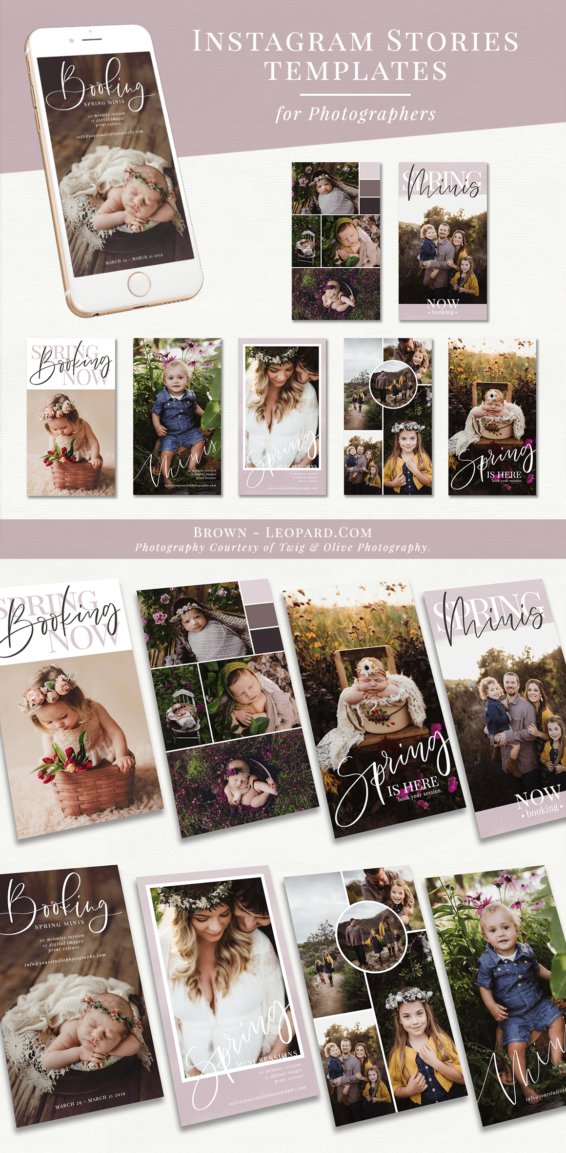 Spring minis are here! Instagram Stories templates for Photographers - spring mini sessions theme. Great marketing tool to promote your photography business on social media, boost your service, offers & special sales. Customizable and editable layered psd files for Adobe Photoshop and Photoshop Elements - super easy to use & very fast. Digital design templates for creative photographers from Brown Leopard.