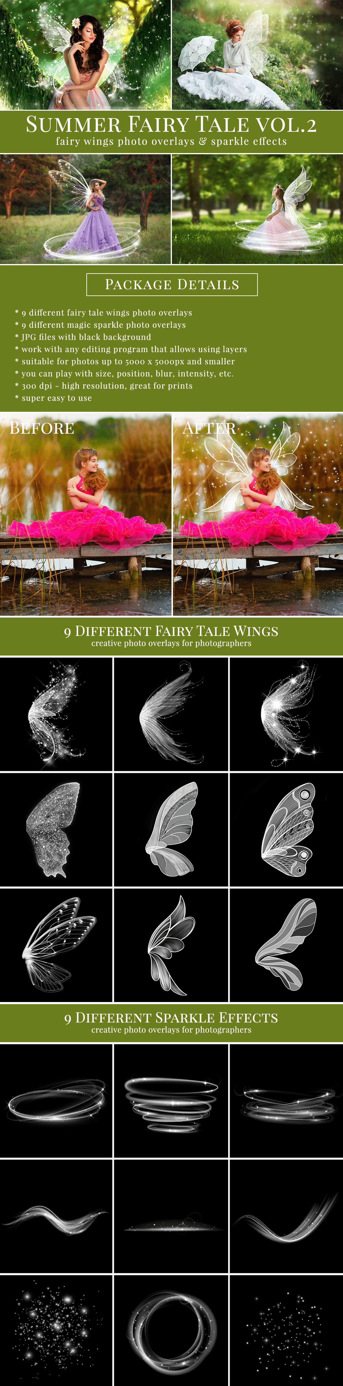Creative fairy wings photo overlays & sparkle effects, great for fairy mini sessions, summer kids & family pictures, portraits, etc. Tweak your photography and style original scenes with fabulous results, attract more potential clients with original pictures, edited just in few seconds, very easy to use - drag & drop. Work with any editing software that allows using layers – like Adobe Photoshop CS & CC, Elements, Canva, Zoner, Gimp, PicMonkey etc.