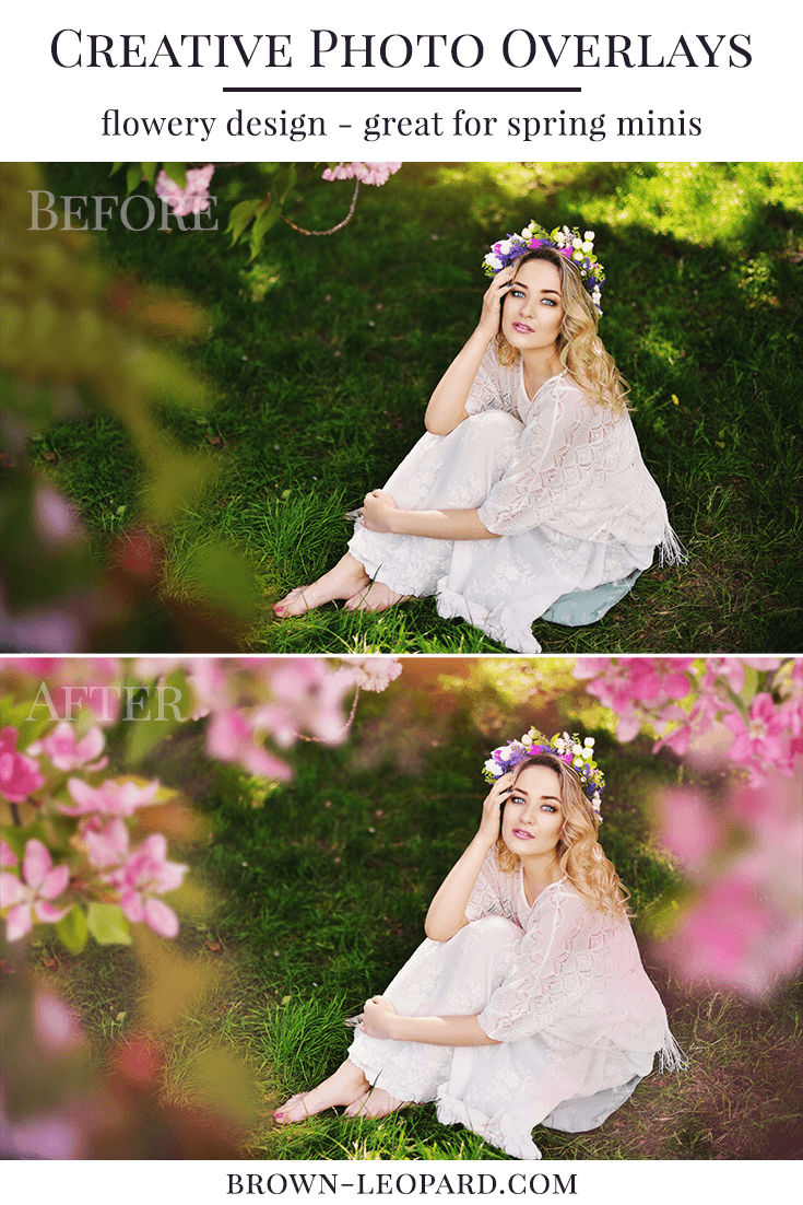 Try our new creative spring photo overlays and style amazing flowery scenes in few minutes. Great for spring minis, kids, portraits & wedding photography. Drag & drop - very easy to use, fast and simple. Original pictures just in few seconds. Professional blossom photo overlays for Photoshop, Zoner, Gimp, PicMoneky, Canva, etc. Photo overlays for creative photographers from Brown Leopard. Cherry tree photo overlays, sakura photo overlays, apple tree photo overlays.
