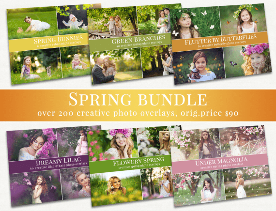 spring photo overlays bundle