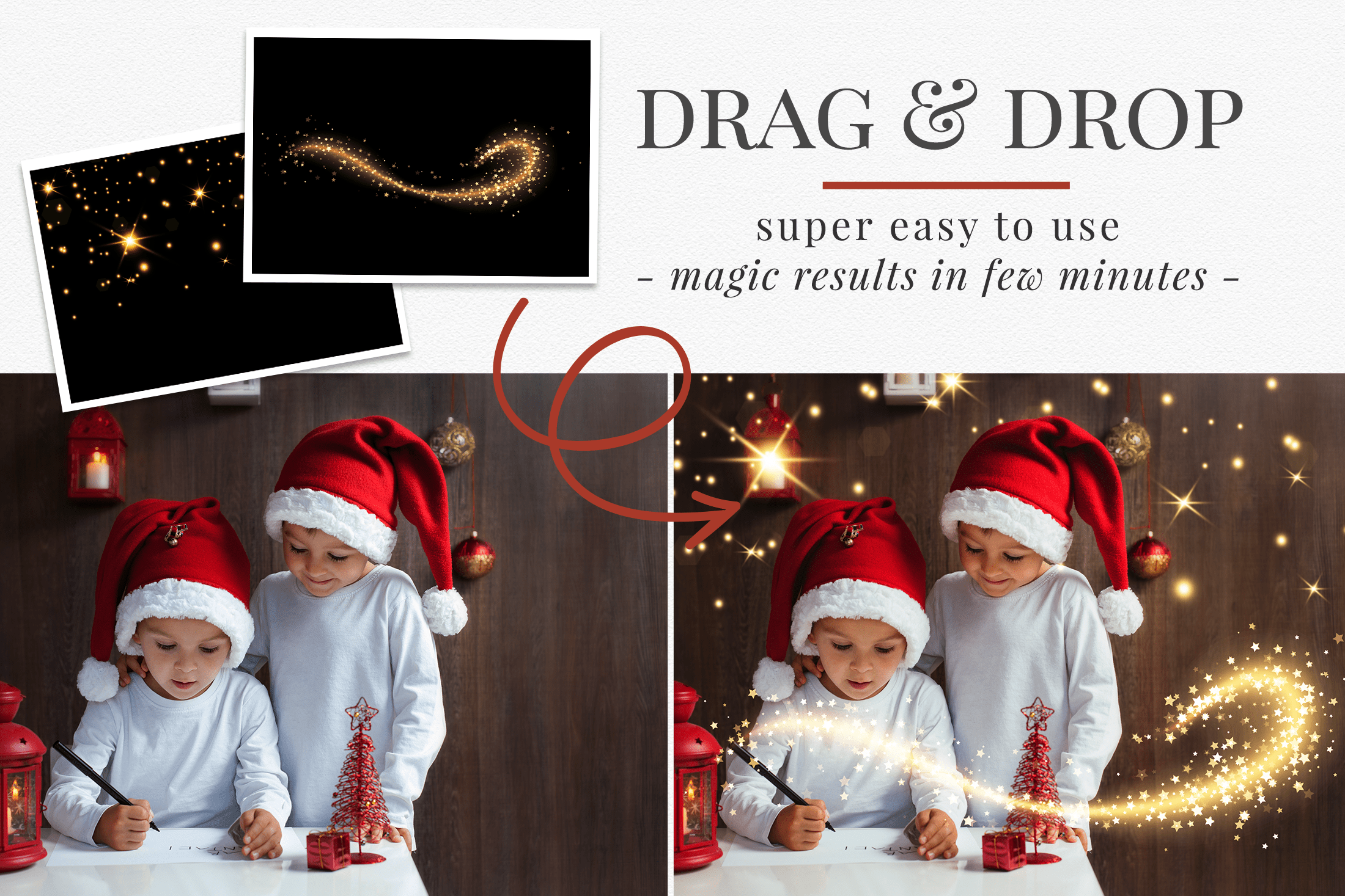 Enhance your Christmas photography with magic effects! 56 different styles of sparkle & bokeh photo overlays. Great for holiday mini sessions with kids, families & portraits. Drag & drop - very easy to use, fast and simple. Fabulous results just in few seconds. Professional holiday photo overlays for Photoshop, Zoner, Gimp, PicMoneky, Canva, etc. Photo overlays for creative photographers from Brown Leopard.