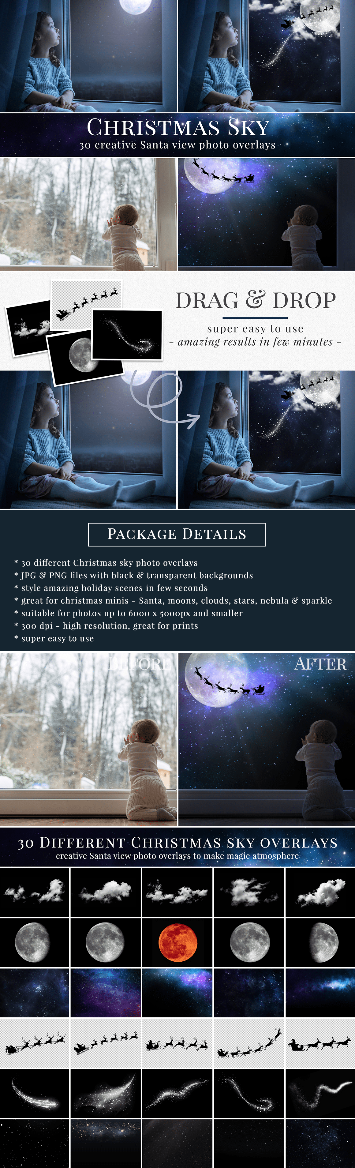 Create stunning Christmas photography with our Santa view overlays. 30 different Christmas sky photo overlays - Santa, moons, clouds, sparkle, stars & nebulas designs. Great for holiday mini sessions with kids, families & portraits. Drag & drop - very easy to use, fast and simple. Fabulous results just in few seconds. Professional holiday photo overlays for Photoshop, Zoner, Gimp, PicMoneky, Canva, etc. Photo overlays for creative photographers from Brown Leopard.