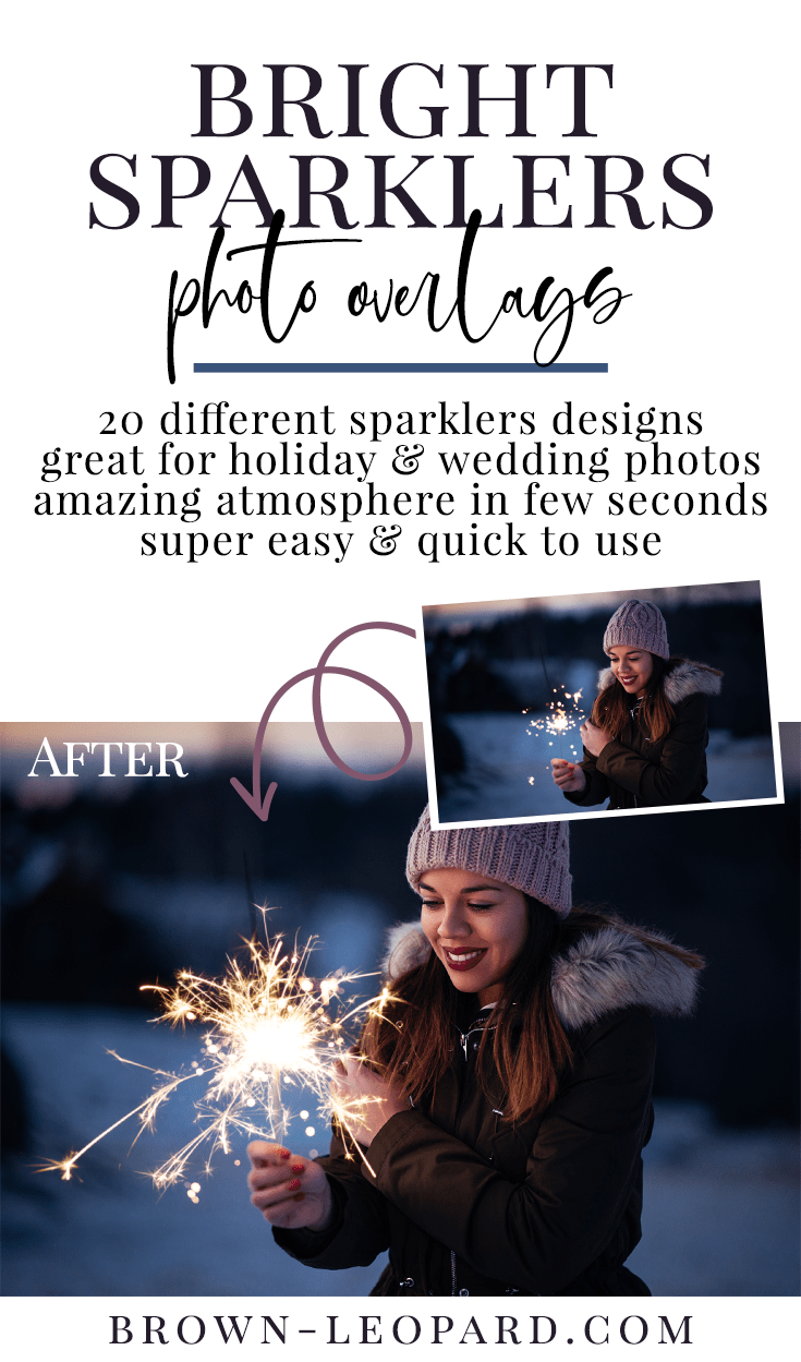 Tweak your holiday photography with bright sparklers! Try this collection of 20 creative sparklers photo overlays - digital designs with bright sparkler effect. Great for seasonal mini sessions with kids, families or couples & wedding photography. Safe when shooting with kids - no fire needed. Drag & drop - very easy to use, fast and simple. Achieve magic atmosphere just in few seconds. Professional Christmas photo overlays for Photoshop, Zoner, Gimp, PicMoneky, Canva, etc. Photo overlays for creative photographers from Brown Leopard.