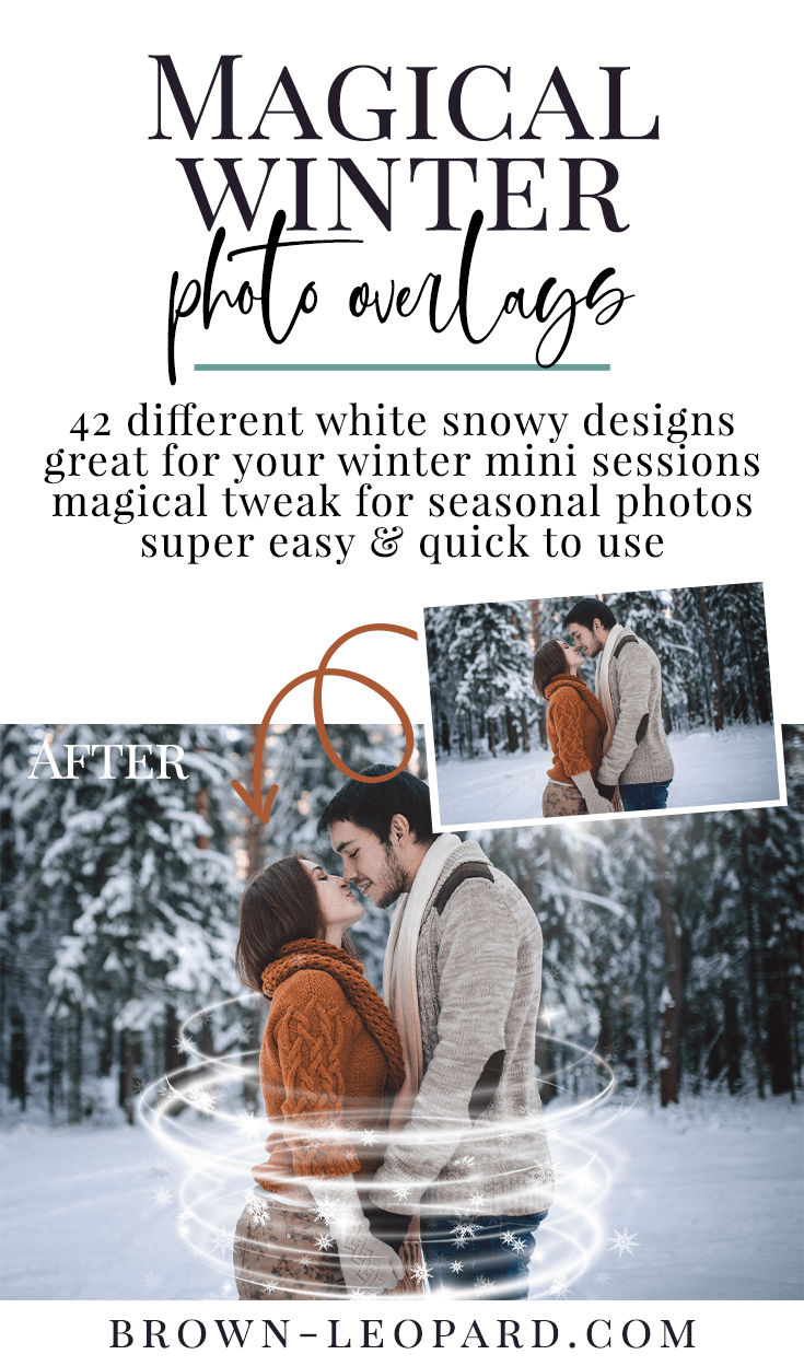 Enhance your holiday photography with our winter photo overlays! 42 different creative sparkle snowy overlays - spirals, rounds, lights... Snow & bokeh photo overlays - great for seasonal mini sessions with kids, families & couples. Drag & drop - very easy to use, fast and simple. Fabulous results just in few seconds. Professional winter photo overlays for Photoshop, Zoner, Gimp, PicMoneky, Canva, etc. Photo overlays for creative photographers from Brown Leopard.