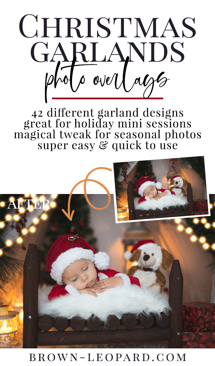 Enhance your holiday photography with our new collection of 42 different Christmas garlands photo overlays. Great for Christmas mini sessions with kids & families and portrait photography. Drag & drop - very easy to use, fast and simple. Original results just in few seconds. Professional Christmas photo overlays for Photoshop, Zoner, Gimp, PicMoneky, Canva, etc. Photo overlays for creative photographers from Brown Leopard.