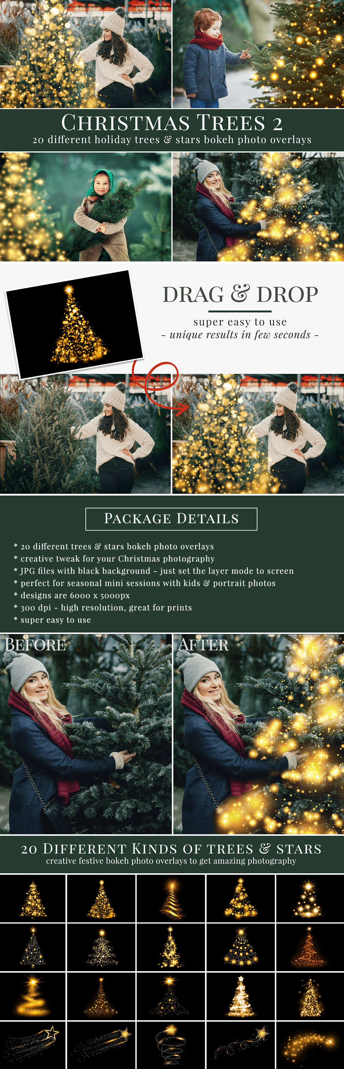 Christmas tree photo overlays to enhance your holiday photography. 20 different designs of trees & stars bokeh photo overlays. Great for Christmas mini sessions with kids, families & portrait photography. Drag & drop - very easy & quick to use, original results just in few seconds. Professional holiday photo overlays for Photoshop, Zoner, Gimp, PicMoneky, Canva, etc. Photo overlays for creative photographers from Brown Leopard.
