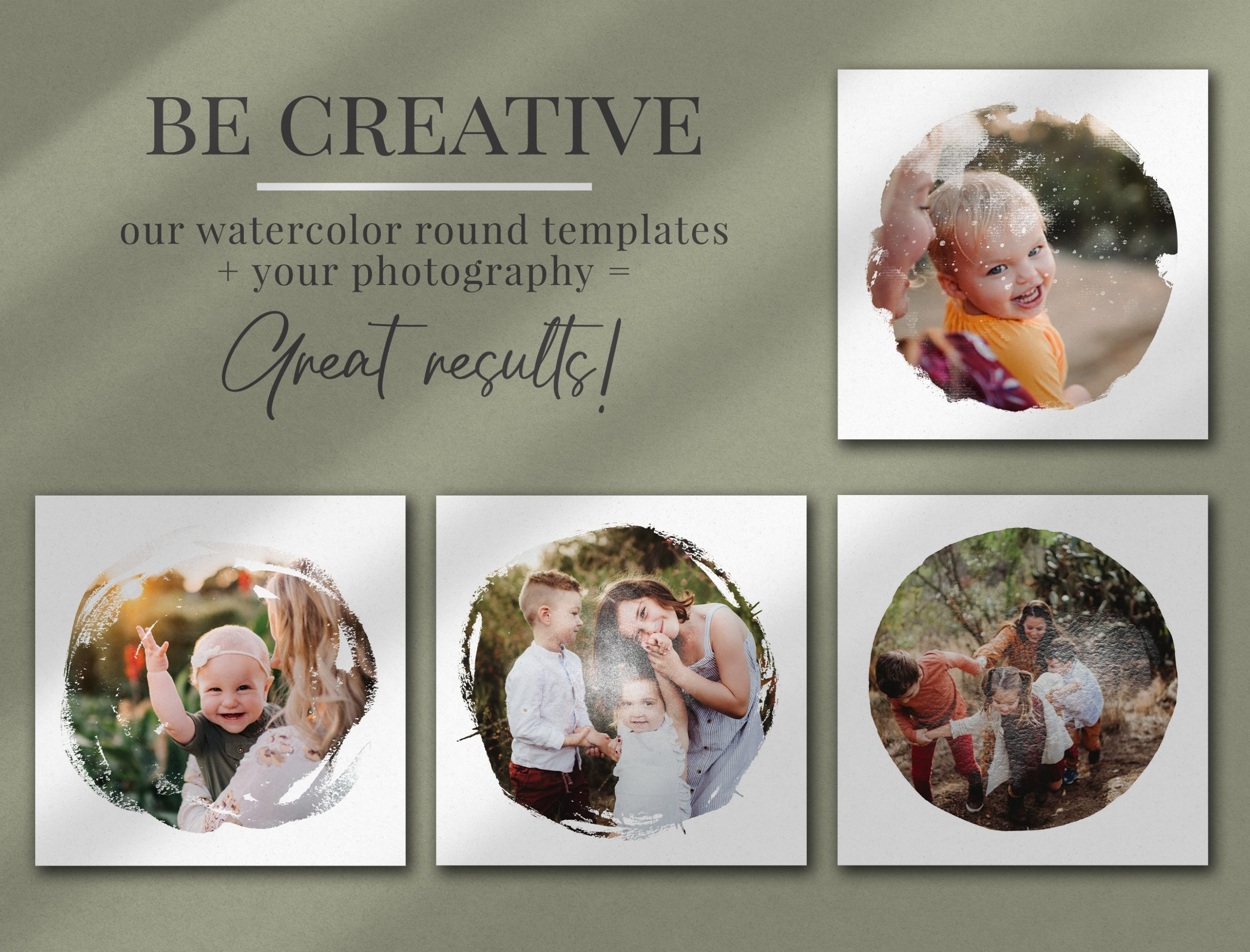 watercolor round photo masks